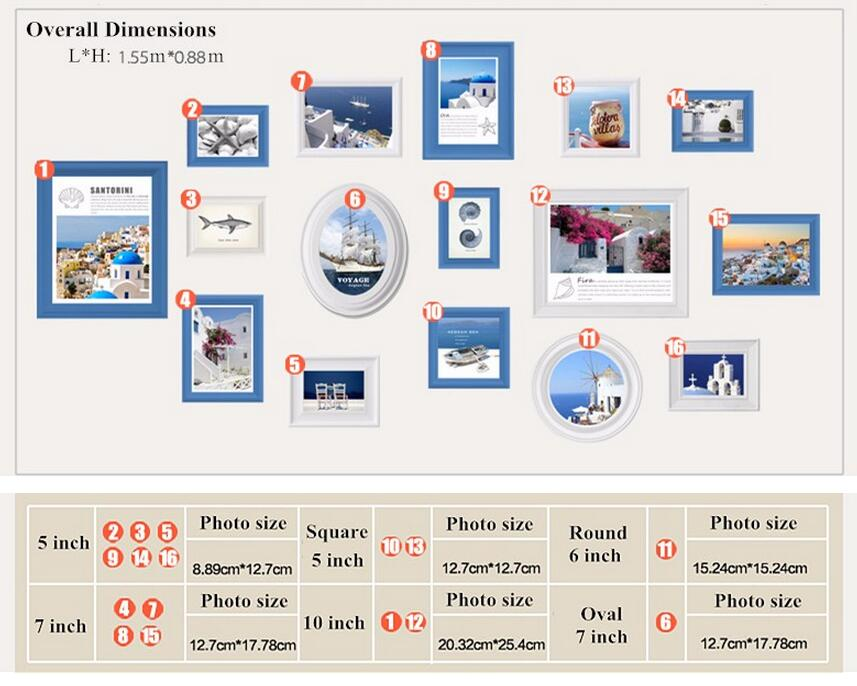 16 teile/satz Collage Foto Rahmen Set, Vintage Bild Rahmen, Porta ...