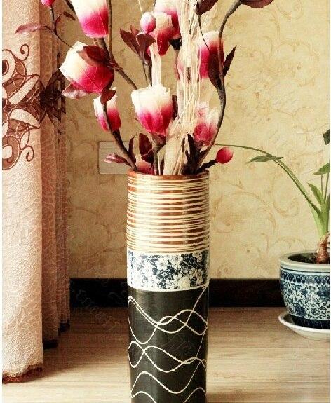 Af 05 Jingdezhen Ceramica Europea Pie De Salon Creativa Flores Secas - Jarrones-con-flores-secas