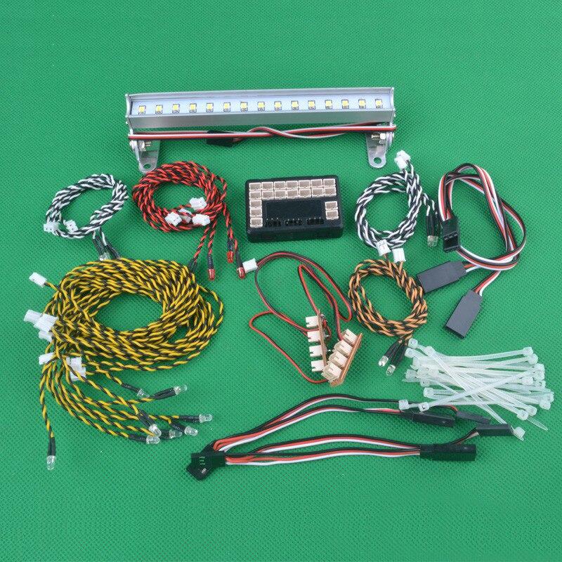 1 Set 1/10 Hengguan escalade voiture lumière LED groupe 5mm/3mm phare LED avec bande de lampe de toit pour 1:10 RC voitures bricolage pièces de mise à niveau