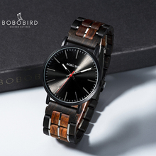 relogio masculino 2020 BOBO BIRD Men Quartz Wristwatch Wooden Watch Timepieces With Gift Wood Box V S19