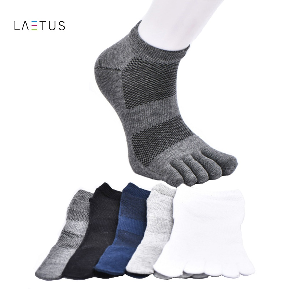 Laetus Mens Toe Ankle Dress Socks Mesh Breathable Solid Color Soft Comfortable Five Finger Cotton Casual Ankle Socks 5 Pairs/Lot