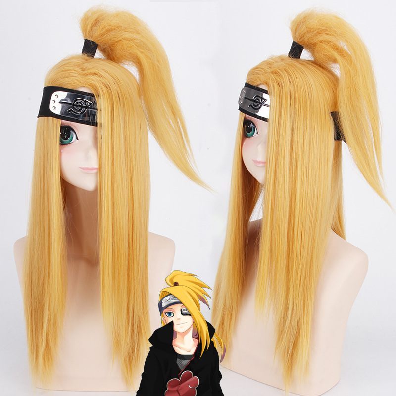 Naruto Akactuki Cosplay Wigs Deidara Golden Synthetic Hair + Wig Cap