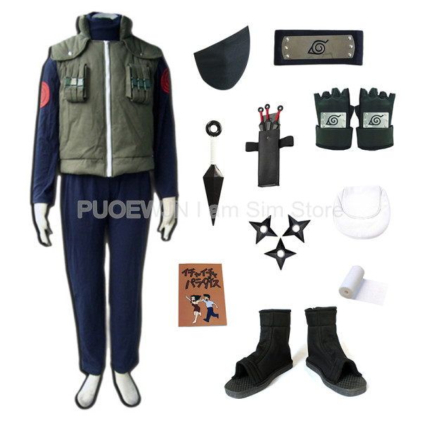 Ultimate DealÈKakashi Cosplay Costume Naruto Glove Mask Headband Waist-Bag Leg Kunai Hatake Include-Shoes