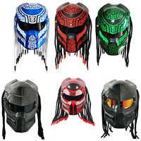 Knight Predator Carbon Fiber Motorcycle Helmet Full Face Iron Warrior Man Helmet DOT Safety Certification Black Blue Colorful