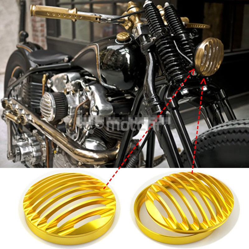 Golden CNC Aluminum Headlight Protection And Decoration Grill Cover Fit For 2004-2012 Harley Sportster XL 883 883L 1200 super quality 5 3 4 aluminum cnc light cover headlight grill cover for harley sportster xl883 1200 04 up softail