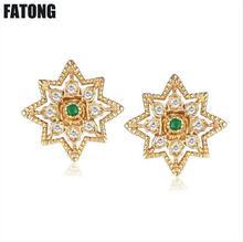 925 sterling silver natural emerald earrings make old hipster girls gift retro van. J0149 недорого