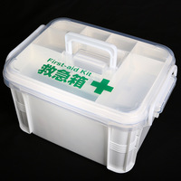 PP Material Camping Home Plastic Storage Box Handle Waterproof Emergency First Aid Kit Drug Medical Box