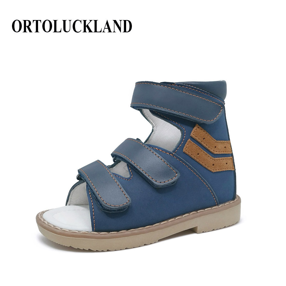 Stylish Nubuck Bule Hoop Loop Children Boy Orthopedic SandalsShoes Kids Genuine Leather Healthy Orthopedic Shoes
