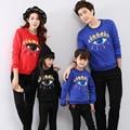 2015 marca otoño invierno algodón de la familia de la ropa de la familia madre / niños / padre / hijo de manga larga T-shirt ropa ojo grande sudaderas con capucha