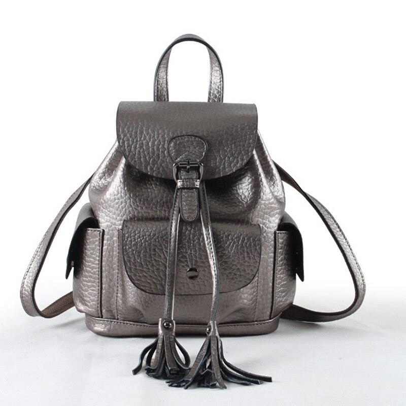 2018 quaste Abdeckung Rucksack für Frauen Doppel Schulter Tasche Hohe Qualität Echtem Rindsleder Täglichen Knaspack Silber Bagpack-in Rucksäcke aus Gepäck & Taschen bei  Gruppe 2