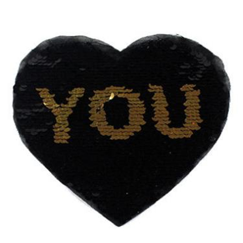 Patch diy clothes t shirt women stickers Reversible change color sequins heart 16cm YOU star deal with it patches for clothing
