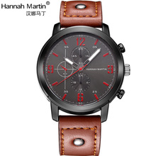 luxury top brand mens watches sport quartz Genuine leather brown black band man wristwatch number luminous male wristwatch