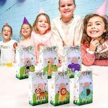 DHL бесплатно 100 шт сафари животные сувениры Подарочные коробки для конфет сумки джунгли день рождения Тематические вечерние декорация праздничные украшения
