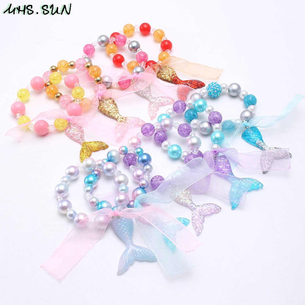 MHS.SUN baby fashion bracelets girls charms mermaid pendant bangles elastic diy beads bracelets for kids child jewelry 1pc/lot