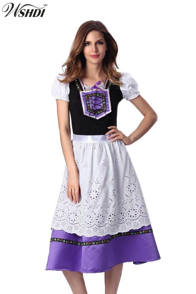 2018 Adult Women Oktoberfest Costume Octoberfest Bavarian Dirndl Maid Peasant Uniforms Halloween Carnival Party Fancy Dress
