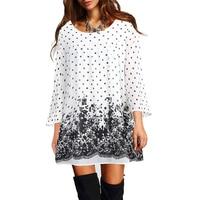 Timeson Floral Printed Chiffon Blouse 3 4 Sleeve Long Shirt Women 2018 Summer O Neck Chemise