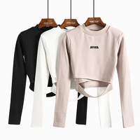 2018 Fashion New Letter Embroidery T shirts Women Long sleeve Waist Hollow Out Cross Cut Short T shirt Casual Wild Slim t shirts