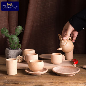 Pretend Play Kitchen Toys 1*Wooden Tableware Toy Beech Wooden Simulation Kitchen Tableware Tea Pot Tea Cups Playing Wooden Toys