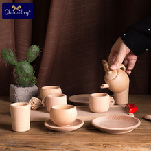 Pretend Play Kitchen Toys Wooden Tableware Toy Beech Simulation Tea Pot Cups Playing