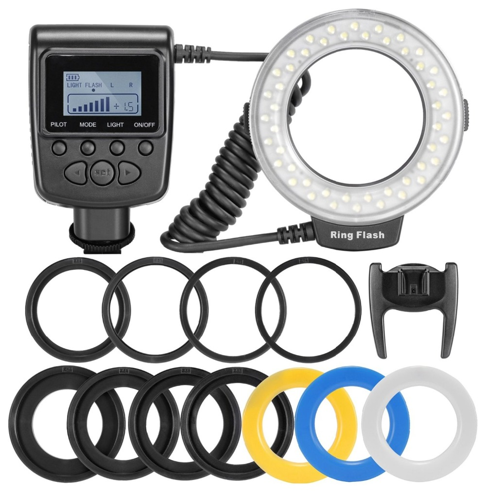 New 48 pcs RF-550D Macro LED Ring Flash Light and Flash Diffusers for NIKON Canon Olympus Sony(HDMI) DSLR Cameras