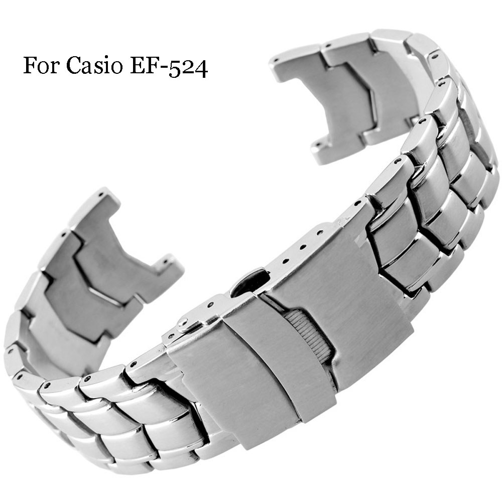 Brushed Stainless Steel Genuine Watch Band For CASIO Edifice EF-524 Watch Strap Bracelet Men Watchband Silver Safety Clasp EF524