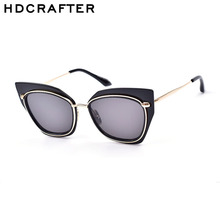 2016 HDCRAFTER New UV400 Sun Glasses Women High Quality Eyewear Brand Design Big-Framed Cat Eyes Oculos