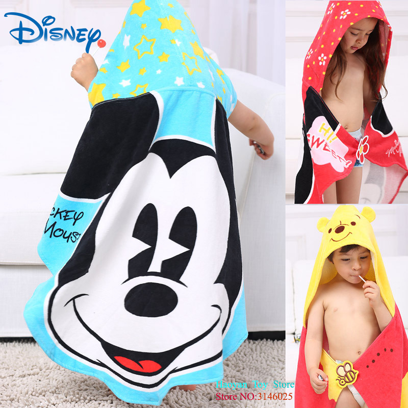Disneyland Boy Girl Bath Towel Cloak Cotton Children Gauze Cartoon Robe Bath Towel Hooded Soft Cartoon