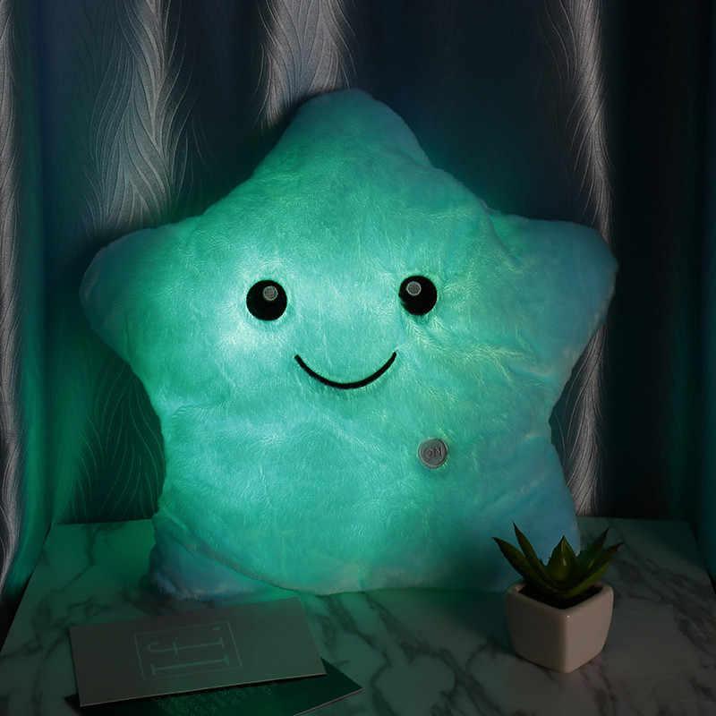 Горячая креативная светящаяся светодиодный Подушка светящаяся звезда детские мягкие животные плюшевые игрушки красочные светящиеся звезды Рождественский подарок для детей