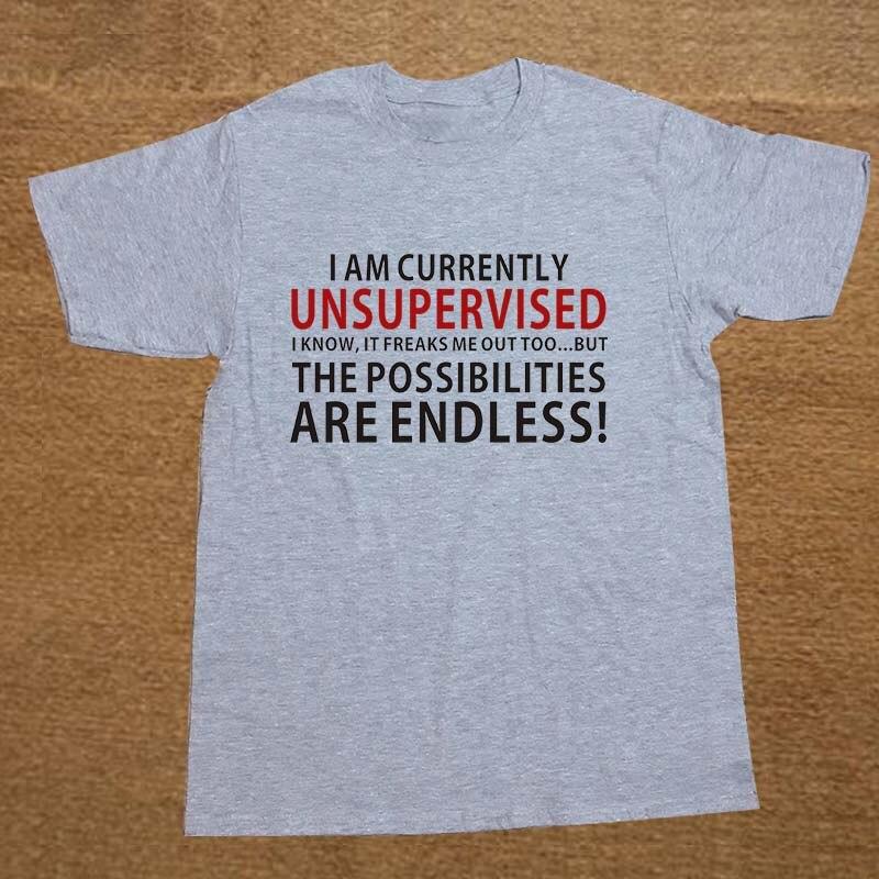 d70f1bad0 Eu Atualmente Estou Sem Supervisão Funny T Shirt Homens Camiseta de Algodão  De Manga Curta T-shirt Top Tees