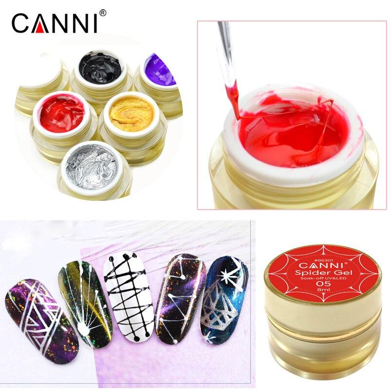 CANNI 3D Spider Painting Gel 6 Colors Manicure Nail Art Salon VENALISA 8ml Design Enamel Wire Drawing UV LED Paints Gel Lacquer Nail Gel     - title=