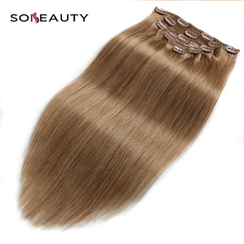 Sobeauty Full Head  16 Clips In Hair Extensions For Women Popular Hair Beauty Colors Thick Bottom Machine Made Remy Hair