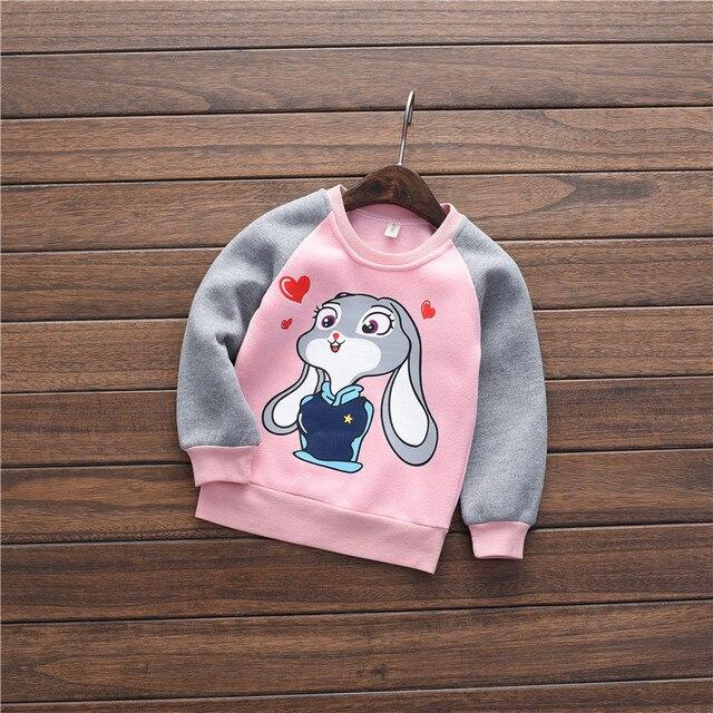 2016 осень и зима новый девушки милые добавить кашемир борьба цвет мультфильм печати кролик теплый пуловер с капюшоном одежда для новорожденных девушка