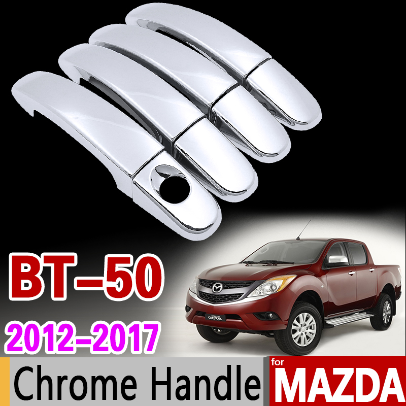 For Mazda BT-50 2012-2017 Chrome Handle Cover Trim Set for BT 50 BT50 Car Accessories Stickers Car Styling 2013 2014 2015 2016 for suzuki splash 2007 2014 chrome handle cover trim set of 4door 2008 2009 2010 2011 2012 2013 accessories sticker car styling