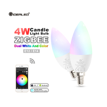 Zigbee hub Smart led light bulb rgbw/rgbww smart APP control Dimming E14 By Zigbee Echo plus Lightify Hub,Homee,Smart Friends