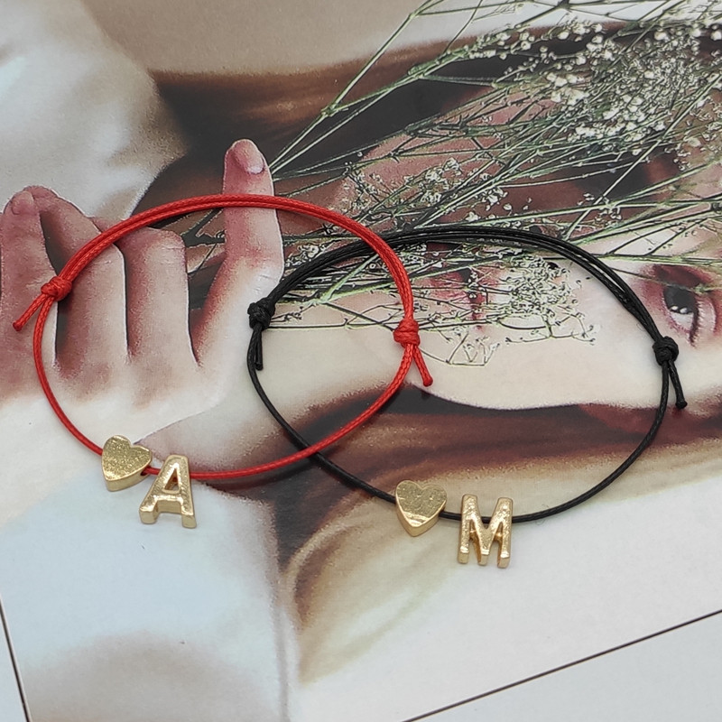 New Gold Color Tiny Heart Initials Name Charm Letter Bracelet For Women Men Lucky String Rope Red Bracelets Couple Gifts