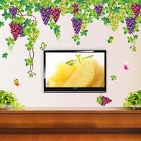 2pcs Set 140 196cm Big Large Grape Vines Wall Sticker For Living Room Removable Vinyl Wall