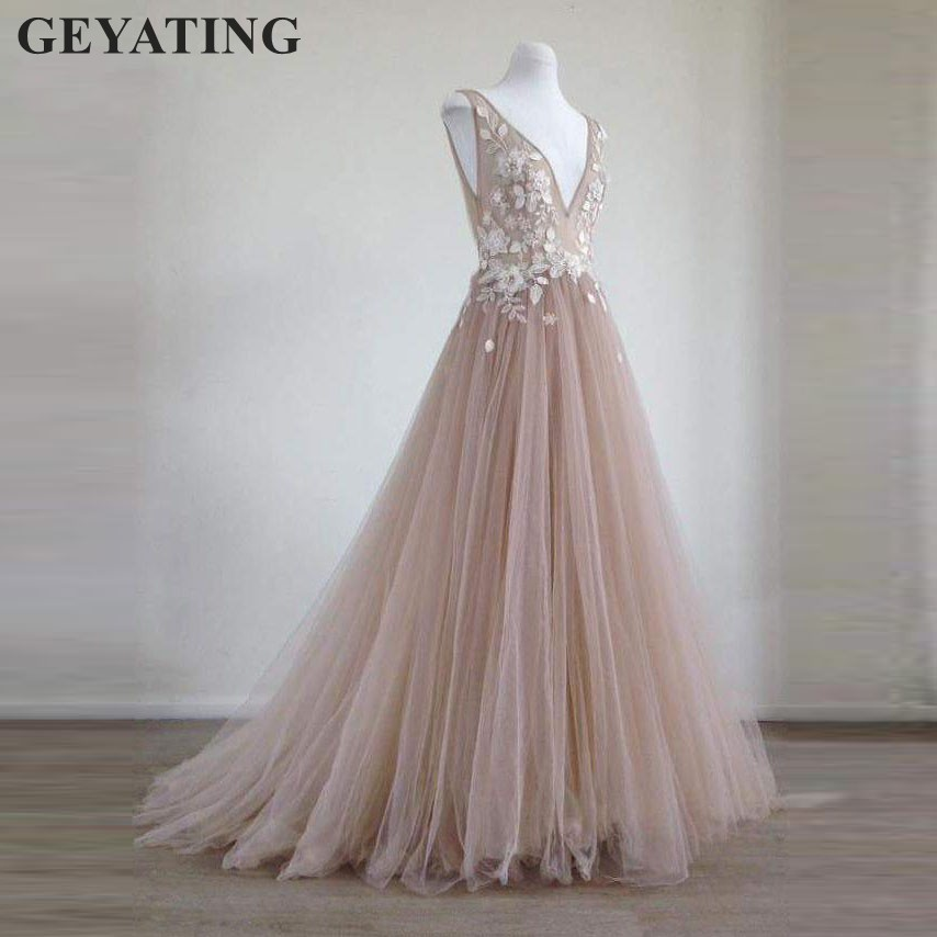 Blush Pink 3D Flower Long   Evening     Dress   2019 Sexy V-neck Lace Appliques Tulle Formal Prom   Dresses   Party Gowns Robe De Soiree