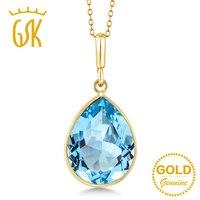 צורת אגס 8.00 ct GemStoneKing טבעי כחול טופז אבן חן 14 K זהב צהוב שרשרת תליון לתכשיטי נשים