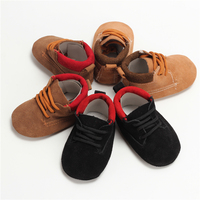 Genuine Leather Baby Moccasins Soft Bottom Mixed Colors Lace Up Baby Boys Shoes Suede Baby Boots