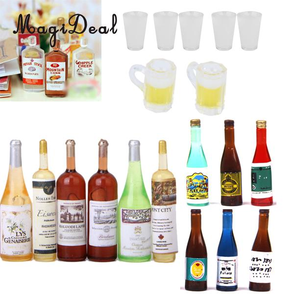 MagiDeal 6Pcs/Lot Mini Colorful 1/12 Scale Wine Bottles Dollhouse Miniature Decorative Toy For Children Funny Pretend Game Gift
