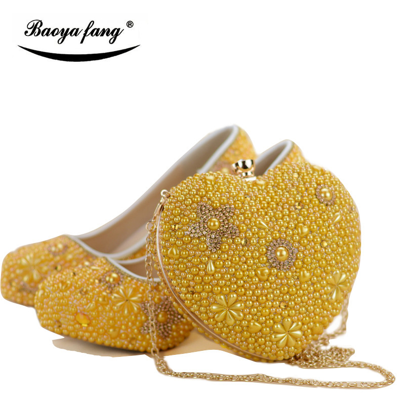 Women wedding shoes with matching bags yellow Pearl bride party dress shoe and bag set High heels platform shoes Ladies shoes baoyafang red crystal womens wedding shoes with matching bags bride high heels platform shoes and purse sets woman high shoes