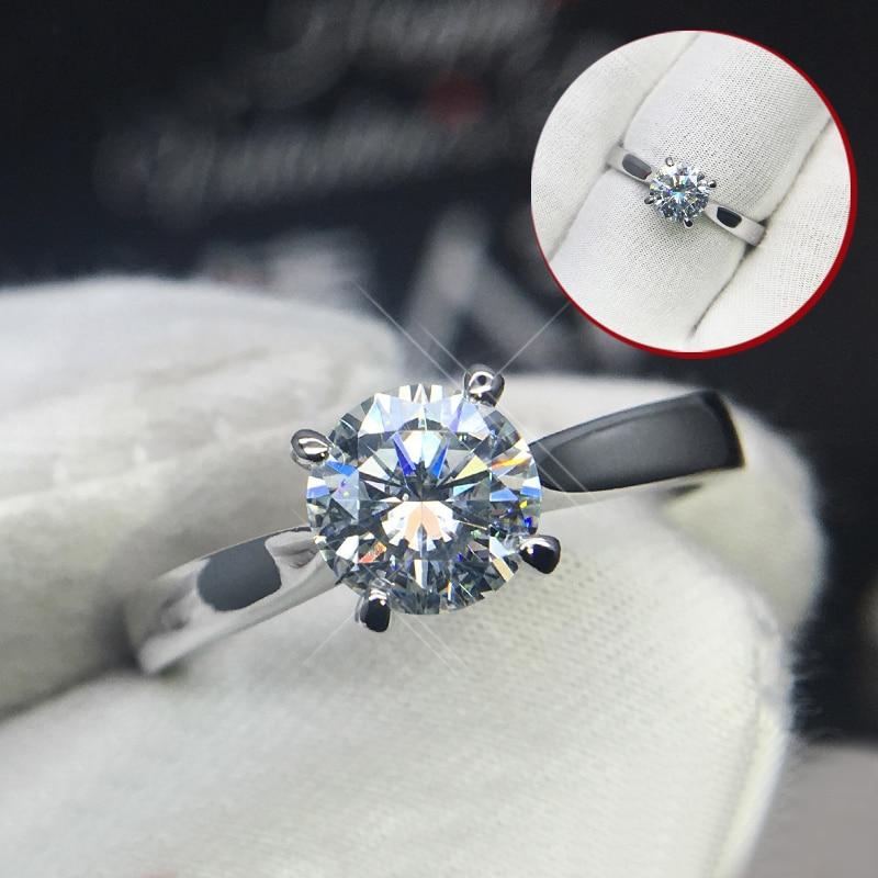 Anillo de oro blanco de 18 K puro 1ct 2ct 3ct VVS1 DF color corte redondo estilo clásico boda joyería anillo de aniversario compromiso para mujer