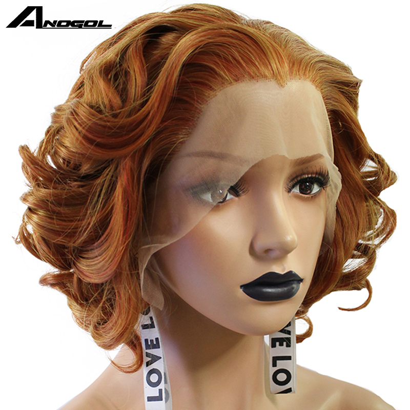 Anogol Purple Short Body Wave Bob Wigs Dark Brown Platinum Blonde White Pink Synthetic Lace Front