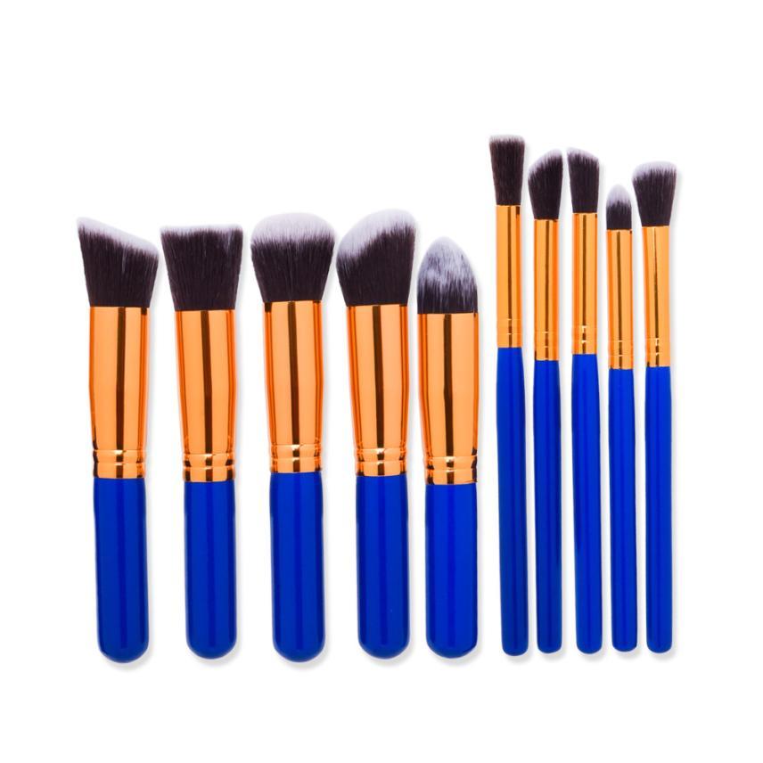GUJHUI  10PCS  Make Up Foundation Eyebrow Eyeliner Blush Cosmetic Concealer Nylon Hair Brushes  M30X17