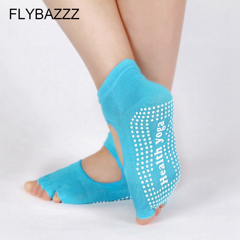 Women Professional Yoga Socks Anti slip Five Fingers Toe Backless Silicone Non slip Socks Ballet Gym Fitness Sports Cotton Socks in Yoga Socks from Sports Entertainment