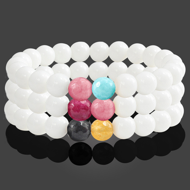 Fashion 8MM White Porcelain Stone Charm Women Men Bracelets Couple Distance Brac