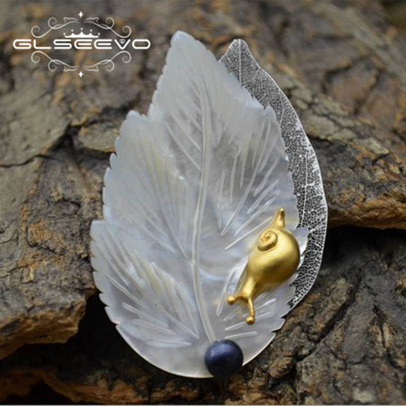 GLSEEVO Natural Mother Of Pearl Leaf Brooch Pins Fresh Water Black Pearl Brooches For Women Dual Use Luxury Fine Jewelry GO0272 glseevo natural fresh water pearl chokers necklace for women handmade necklaces luxury fine jewelry gargantilha kolye gn0047