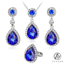 Delicate Big Crystal Wedding Jewelry Sets For Women Fashion Rhinestone Water Drop Pendant Charm Necklace Earrings Ring Sets 20%