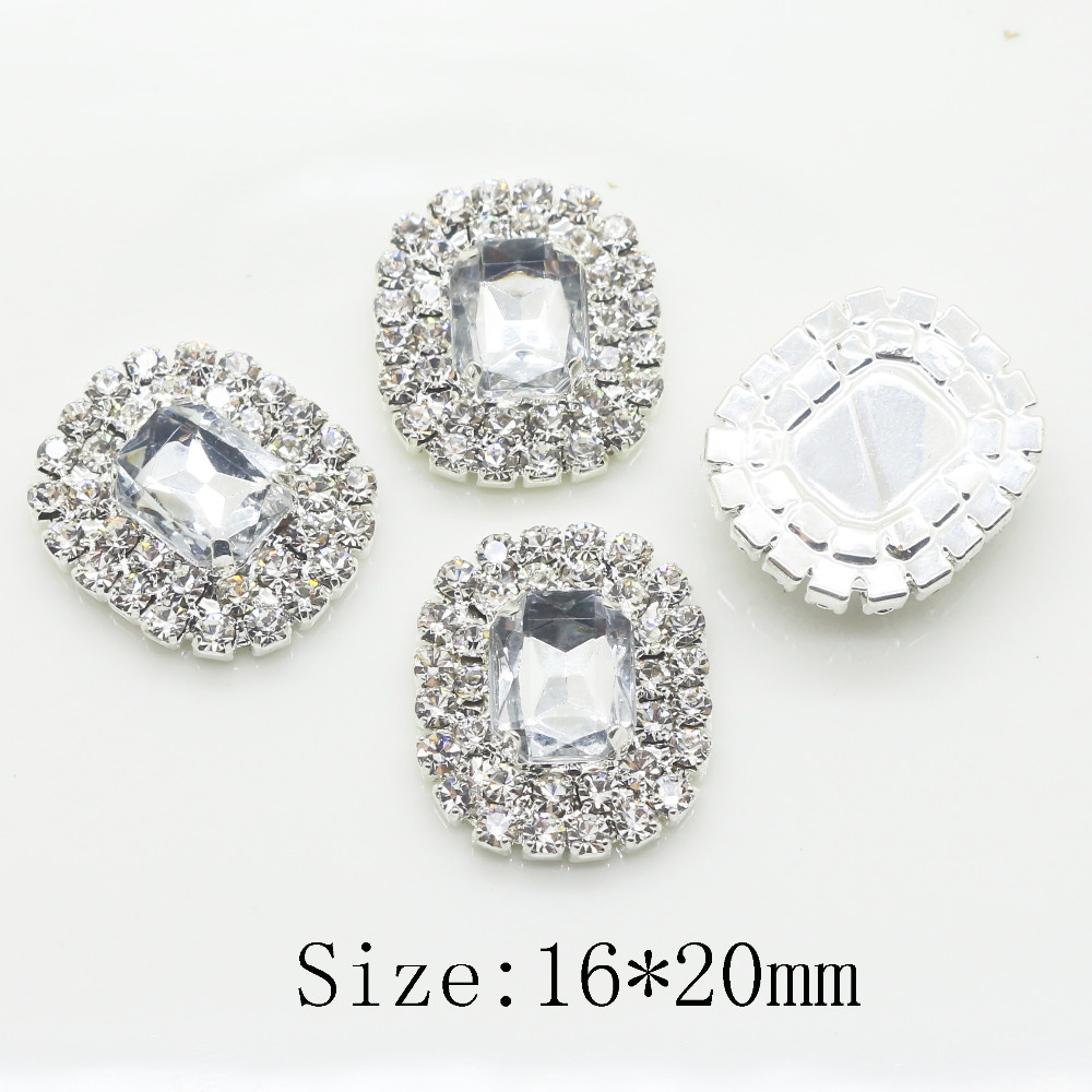 Hot sale 16*20mm Rectangle Double row shiny rhinestone button metal baby button Wedding inviations hair flower center decoration
