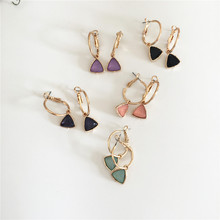 TRENDY WOMEN EARRINGS GOLD COLOR PLATING MINT STONE VIOLET PEACH BLACK NAVY TRIANGLE HOOP